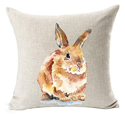 Spring Lovely Bunny Rabbit Happy Easter Cotton Linen Square