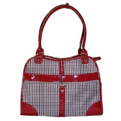 Houndstooth Print Tote Pet Dog Cat Carrier/Tote Purse Travel Airline Bag -Red-Medium by mpet -