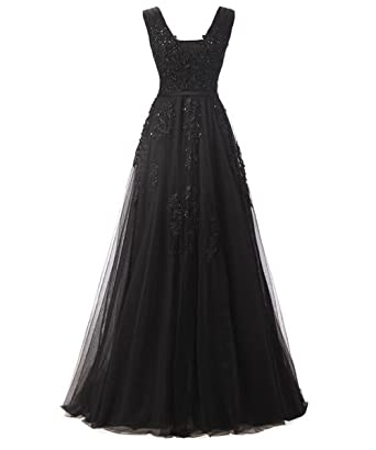 DYS Womens Tulle Prom Dresses Lace Appliques Bridesmaid Evening Dress V Neck Black ...