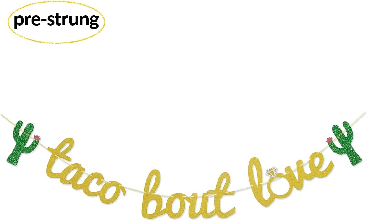 Glamoncha Taco Bout Love Gold Glitter Banner Sign Garland for Mexican Fiesta Themed Bridal Shower Bachelorette Party Wedding Decorations