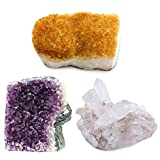 Crystal Allies Specimens: 3 Mineral Starter Pack w/ Natural Amethyst, Citrine, Crystal Quartz Clusters from Brazil – 1lb Specimens