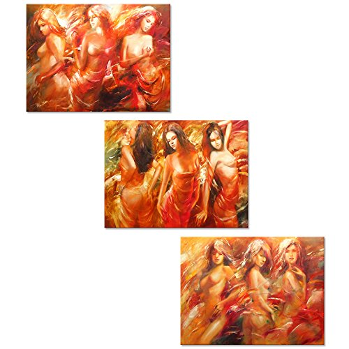 Visual Art Decor Sexy Woman Painting Prints Wall Art Naked Body Art Charming Red Dress Lady Stretched and Framed Canvas Pub Bar Wall Art Decor