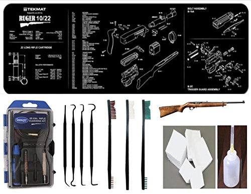Ruger 10/22 EDOG 22 PC Hybrid Gun Cleaning Kit | 10 22 Tekmat | Gunmaster GM22LR | Brush & Pick Set | Precision Lube Bottle | 300 .22 Cotton Cleaning Patches