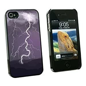 Graphics and More Lightning Storm - Thunder Sky Weather - Snap On Hard Protective Case for Apple iPhone 4 4S - Black - Carrying Case - Non-Retail Packaging - Black by runtopwell