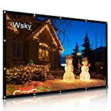 Wsky Projector Screen, 120 inch HD Foldable Portable Outdoor Projection Screen Anti-Crease 16:9 Video Projector Best Home Theater Movie Party Class