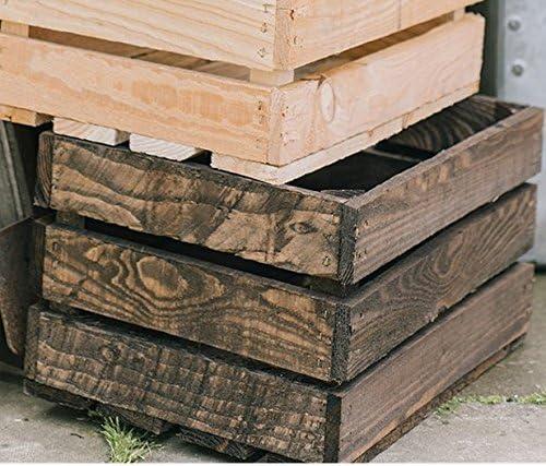 Caja de madera estilo rústico y vintage de color marrón oscuro, como una caja de frutas, para usar como maceta. : Amazon.es: Jardín