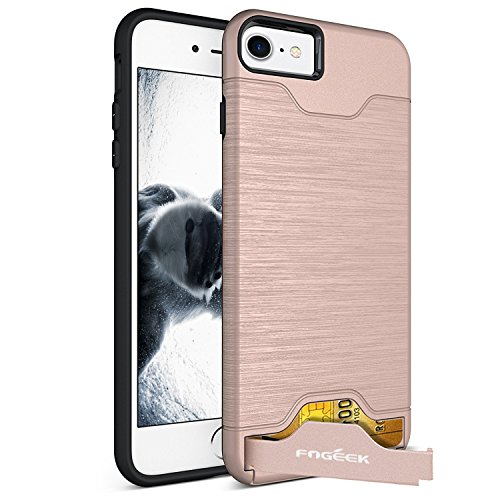 iPhone 7 Case : Fogeek Shockproof PC+TPU Dual Layer Protection Card Slot Holder Hybrid Cover with Kickstand for iPhone 7(Rose Gold)