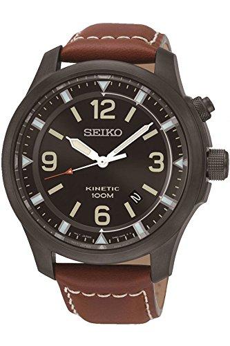 Mens Kinetic Black Dial - Seiko Kinetic SKA691P1 Men's Watch Analogue Kinetic Black Dial Brown Leather Strap
