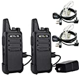 Retevis RT22 Two Way Radio UHF 400-480MHz 16CH VOX Walkie Talkies(2 Pack) and Covert Air Acoustic Earpiece (2 Pack)