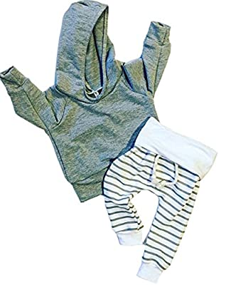 Newborn Baby Boys Gray Hoodie T-shirt Top + Striped Pants Outfits Set Kids Clothes