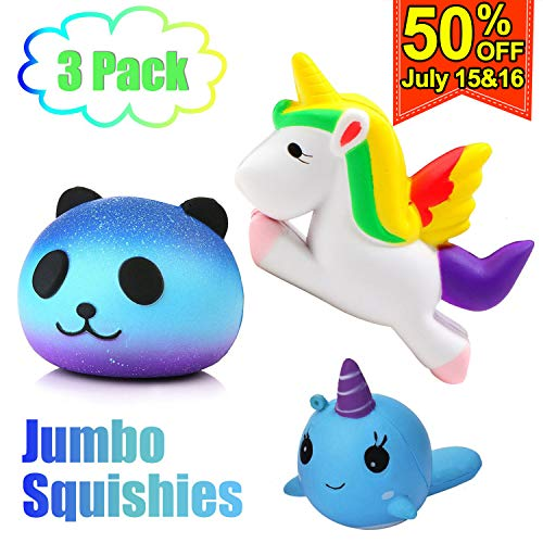 3PCS Jumbo Unicorn Squishy Toys Pack Soft Slow Rising Scented Animal Stress Relief Kids Toy Unicorn Party Favors Unicorn Party Supplies Boy Gift Gift -