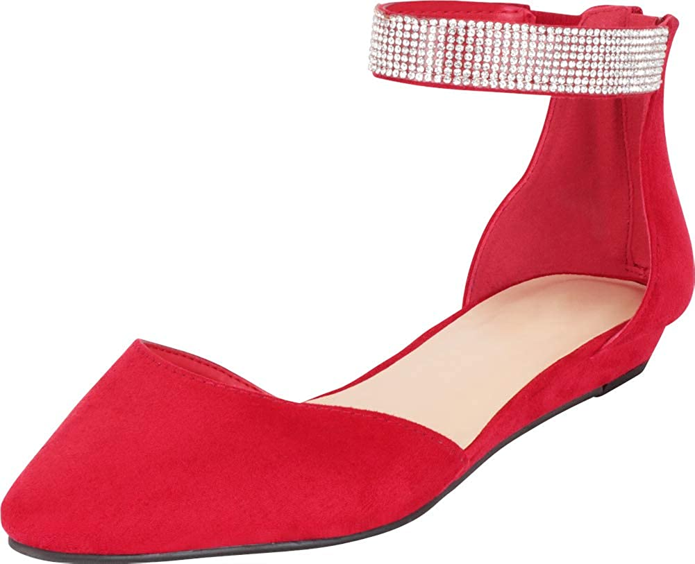 Bright Red Imsu Cambridge Select Women's Pointed Toe D'Orsay Crystal Rhinestone Ankle Strap Low Wedge Ballet Flat