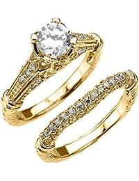 fine 14k yellow gold 2 carat total art deco engagement wedding ring set - 2 Carat Wedding Ring