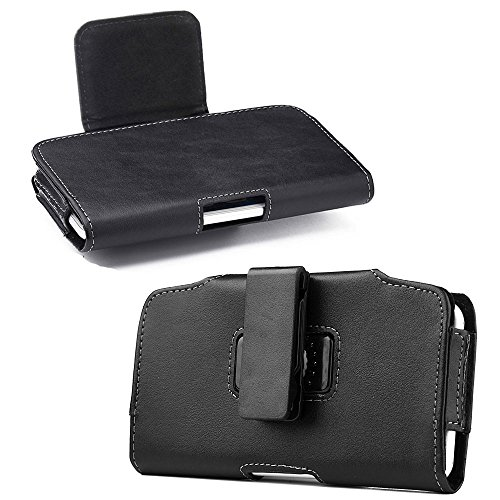 Huawei Ascend Mate 2 / Ascend XT ~ Premium Black Sideways Faux Leather Sleeve Pouch Magnetic Closure Rotatable Belt Clip Holster Carrying Case [Great fits with slim cover or naked phone](Clip)