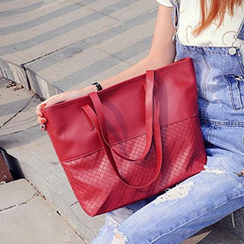 Large Handbag Messenger Bluester Shoulder Bag Satchel Tote Women Red Purse BPHSZqx