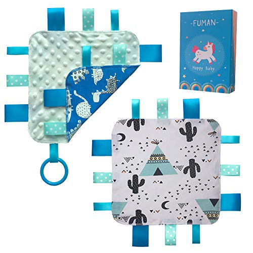 Soothing Blanket Set - FUMAN Warm and Cozy Taglet Security Blanket with Pacifier Tag Promotes Sensory Development in Infants | Soft & Soothing Toddler Comfort Blanket | Baby Shower Gift Set of 2