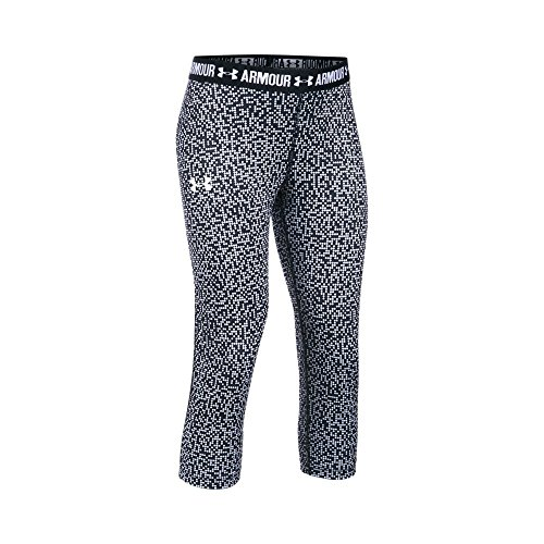 Under Armour Girls' HeatGear Armour Printed Capri, White/Black, Youth Large