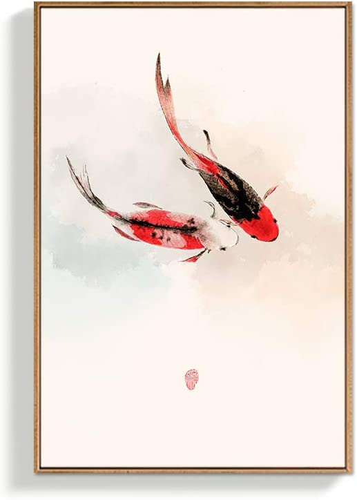 NWT Framed Canvas Wall Art for Living Room, Bedroom Chinese Ink Painting Canvas Prints for Home Decoration Ready to Hanging - 16x24 inches