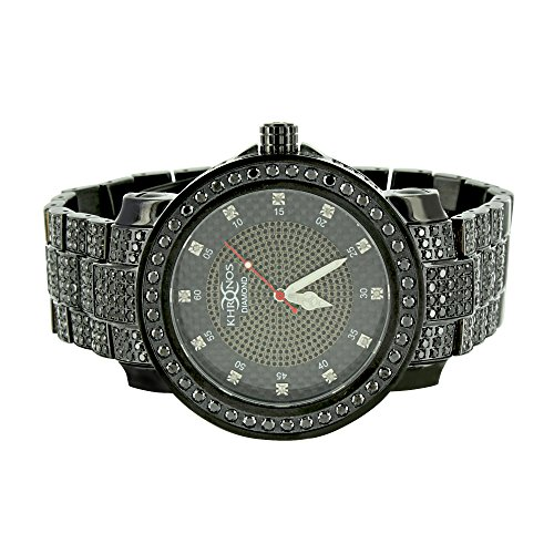 Black Gold Finish Watch Joe Rodeo Jojino Real Diamond Dial Khronos Wristwatch Stainless Steel