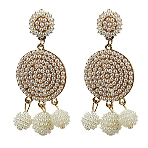 fashion round earring ball drop earrings Temperament pearl earrings,KC Gold rice color