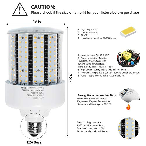 30w Corn Led Light Bulbs E26 E39 Base,300w Equielent. 5000k,Led Replacement 70-100w Metal Halide HID CFL HPS Lamp for… 2