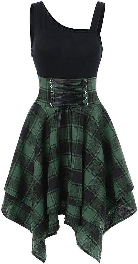HOTstar moda i wzÓr w kratkę moda kobiety bez rękawÓw zimne ramiona krzyż Lace Up Plaid Print nieregularna sukienka: Odzież