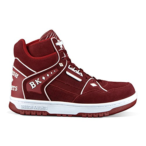 British Knights Director HI Men's Hi-Top Suede SneakerBloodwood/White, 8.5