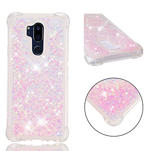 LG G7 Case, LG ThinQ Case, AIKIN LG G7/LG ThinQ Luxury Fashionable Case, Bling Bling Flowing Liquid and Sparkle Hard Quicksand Waterfall Soft TPU Girly Case for LG G7/LG ThinQ (Baby Pink)