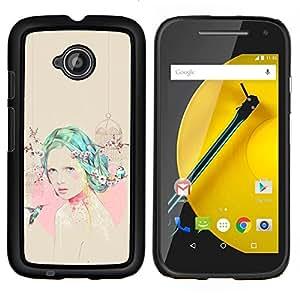 "S-type Chica colibrí Rosa Beige emotivo"" - Arte & diseño plástico duro Fundas Cover Cubre Hard Case Cover For Motorola Moto E2 / E 2nd gen"