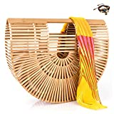 Bamboo Handbag Handmade Large Bamboo Tote Bag Bamboo Purse Straw Beach Bag Clutch For Women & Girls