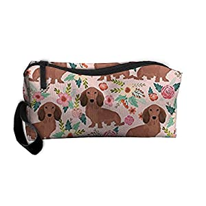 Travel Makeup Dachshunds Floral Cosmetic Pouch Makeup Travel Bag Purse Holiday Gift For Women Or Girls 2