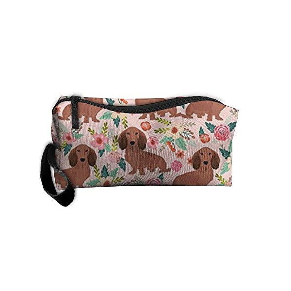 Travel Makeup Dachshunds Floral Cosmetic Pouch Makeup Travel Bag Purse Holiday Gift For Women Or Girls 1