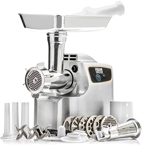 Meat Grinder Set - STX INTERNATIONAL STX-1800-MG Magnum Patented Air Cooled Electric Meat Grinder and Tomato Juicer with 3 Cutting Blades, 3 Grinding Plates, Kubbe and Sausage Tubes