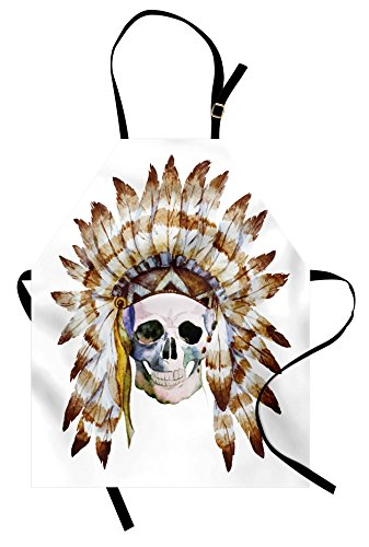 Lunarable Skull Apron, Native American Skull Indigenous Dead Man Watercolor Image with Feathers Ethnic, Unisex Kitchen Bib Apron with Adjustable Neck for Cooking Baking Gardening, Brown White ()