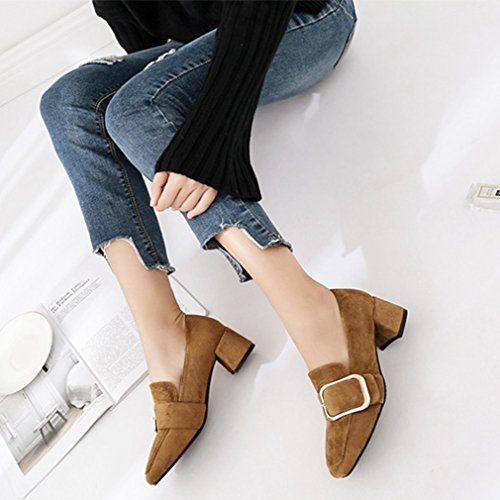 GIY Womens Slip-On Loafers Pumps Suede Square Toe Block Heel Dress Classic Penny Loafer Pump Brown eCdMrx1yyW