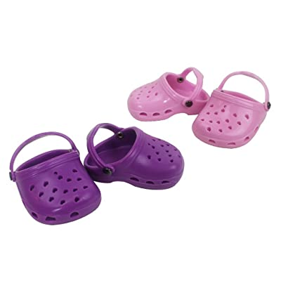 """Doll Shoes for American Girl Dolls: Two Pairs of Purple and Light Pink Sandals - """"Dress Along Dolly"""""""