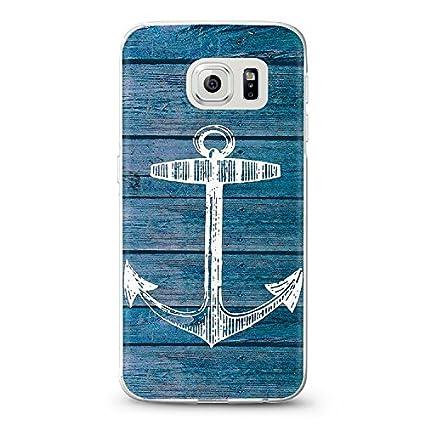 ITGM casetic | Teléfono Móvil para Samsung Galaxy S6 Edge Cover Funda Carcasa Case diseño, Silicona TPU plástico, Anker Blau, Samsung S6 Edge