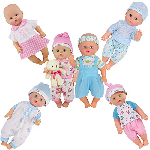 Dressbar 6pcs for 10-11-12 Inch Baby Doll Clothes Outfits Reborn Newborn Costumes with Bear Doll Birthday Xmas Gift - Cabbage Newborn Clothes Patch