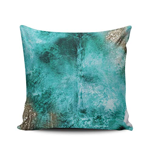 Aqua Cowhide - WEINIYA Home Decoration Throw Pillow Case Aqua Mint 24X24 Inch Turquoise Brown and White Exotic Cowhide Print Square Custom Pillowcase Cushion Cover Double Sided Printed (Set of 1)