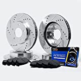 Front + Rear Silver Slotted & Cross Drilled Rotors and Carbon Pads Brake Kit TA059413 | Fits: 2001 01 2002 02 Ford Explorer Sport/Sport Trac 4WD Models