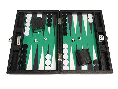13-inch Premium Backgammon Set - Travel Size - Black Board, Green Playing Surface, Black and White Points by Silverman & Co.