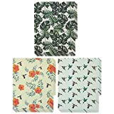 Designer Plastic File Folders - 12 Pack of Decorative Letter Size Poly Folders with Colorful Hummingbirds, Leaves, and Floral Prints in Orange, Green and White