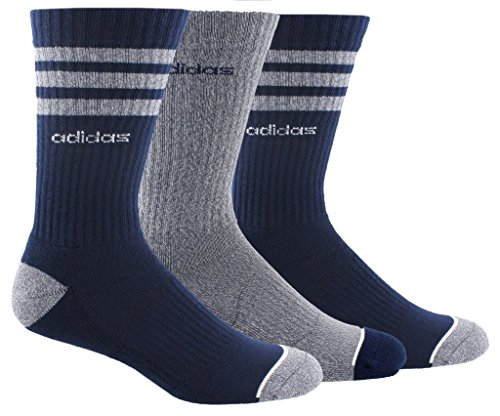 - adidas Men's 3-Stripe Crew Socks (3-Pack), Navy/Grey, Size 6-12