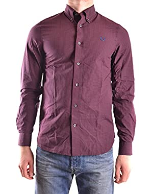Men's MCBI128180O Burgundy Cotton Shirt