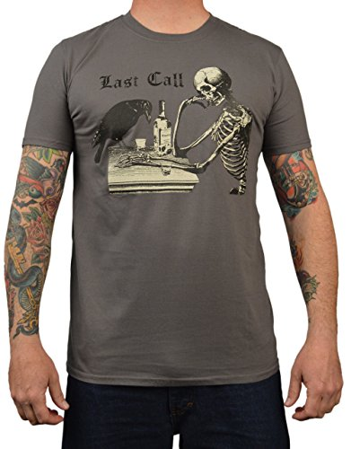 Men's Annex Last Call T-Shirt Skeleton Crow Raven Black Bird Art T-Shirt
