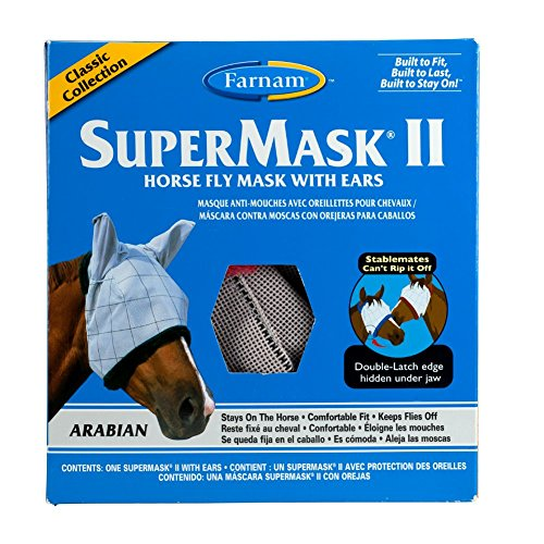 Farnam SuperMask II Classic Horse Fly Mask with Ears, Arabian size, Assorted