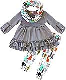 Boutique Clothing Girls Autumn Fall Color Fox Ruffles Scarf Set 6X/2XL