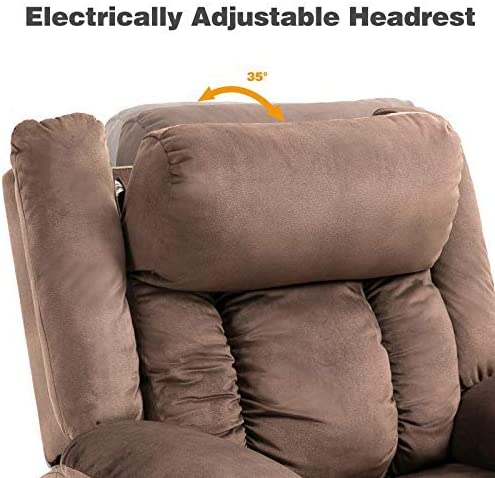 Mecor Lift Chair,Power Lift Recliner for Elderly,Fleece Massage Recliner Chair with Adjustable Headrest Heat Side Pockets USB Charge Port for Living Room Brown