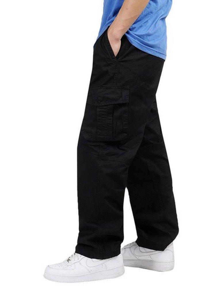 YGT Men's Full Elastic Waist Cargo Pants Lightweight Cotton Workwear Pants, US XX-Large(38-42), Black