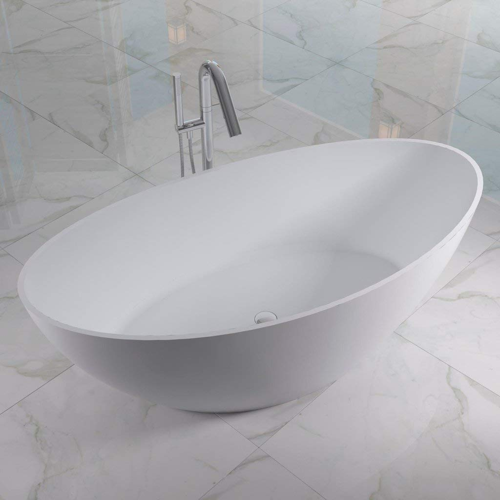 ADM Small Oval Stone Resin Freestanding Bathtub 63